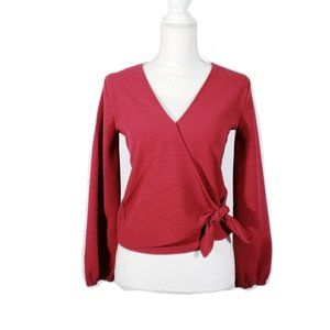 Madewell Red Faux Wrap Blouse
